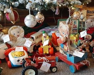 Variety of vintage Fisher Price toys