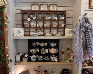 Tea cups / Tea Pots / and Tea Cup Shelf / vintage aprons