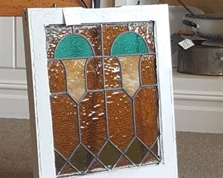 Vintage 20x22 Stained Glass Window