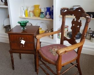 Antique Oak Chair Carved Back with Needlepoint Seat dated 1876