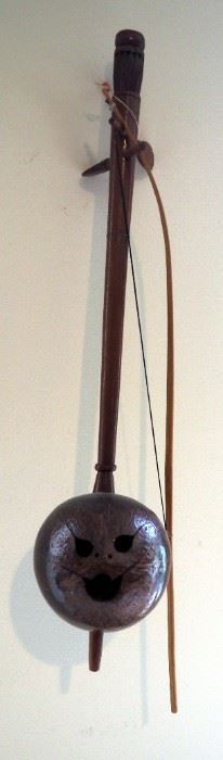 Carved Coconut Erhu With Bow And Bamboo Pan Flute