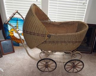 "Antique Lloyd Loom Products Wicker Baby Carriage With Metal Frame, 41""X 43"" X 21"""