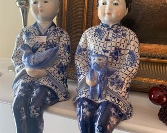 Lot V6 - Blue and White Chinese Figurines,  $35/pr