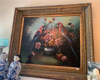 Lot V8 - Oil Painting, still life with birds, $125