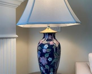 Lot V14 - Asian Floral Lamp and Shade, $20