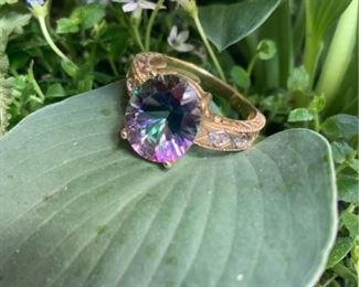 002 Yellow Gold Mystic Topaz and Four Diamond Accent Ring with Reserve