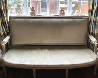 """18th Century Louis XVI settee, approximately 66 1/4"""" wide, 41"""" high and 25 1/2"""" deep.  The color is a beautiful gray wash with gilded touches and it is covered in a green/gray velvet.  Price is $1400.00"""