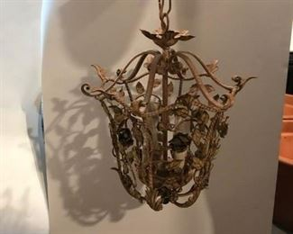"This item is a mid-20th century, gilded metal (the roses are gold tone, the rest of it is painted in an antiqued off-white/cream color with gilded edges) chandelier.  It measures approximately 15 ¼"" tall and 11"" wide (at it's widest point).  The price for this is: $125.00"