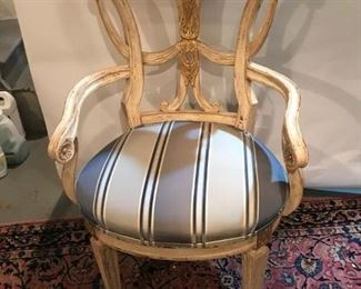 "This is one of a pair of Century Furniture cream color painted and gilded chairs.  Both are covered in a high end fabric (I had them covered but can not remember the maker of the material).  They are in perfect condition.  They measure 22 1/2"" deep, 25 1/2"" wide and 40"" high.  Original price was $2800/chair, asking price: $2000.00 for the pair."
