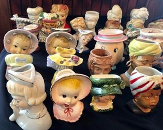 * Lifetime Collection of HEAD VASES,  Approx. 76  Total. Get here 1st Thing and BUY the ENTIRE COLLECTION for $1,000.  That is approx. $13 Each. NIPPON, INARCO, LEFTON, RELPO, PEW, BOBBS-MERRILL, RUBENS, R. MACDONALD, PARMA, NAPCOWARE, C. TEYRO and MORE!      OR             They are also PRICED INDIVIDUALLY  $12 +$165 RANGE