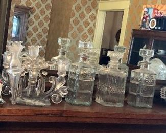 * Matching Oil Lamps, Decanters, Glassware, Candelabra Etc.