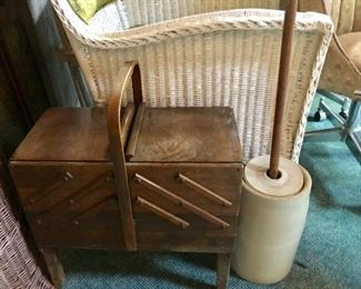 * Antique Sewing Basket and Butter Churn / Crock