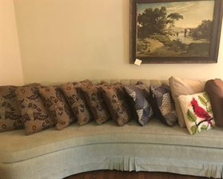 Pillows on sofa Most are new, just now opened for photo. will give discount on them for purchasing more than one