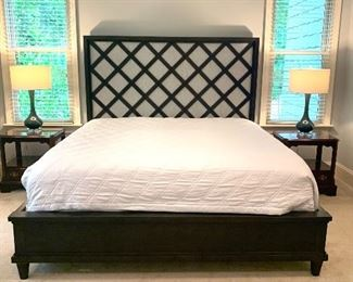 king size bed  by Drexel Heritage (mattress not included), two nightstands & pair of lamps