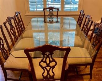 rectangular glass top table & 8 Chippendale chairs (2 with arms)