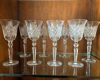 """8 Waterford crystal stemware (""""Lismore""""???)"""