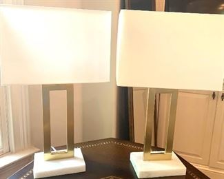 pair of brass & white marble base lamps