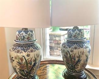 """pair of Ginger Jar lamps, approx. 18"""" tall (plus shades)"""
