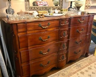 Vintage John Widdicomb Serpentine Bedroom set. Includes Gentleman's Chest, Long Dresser & Pair of Bedside Tables                                                                                $850
