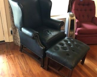 Leather North Hickory Furniture Company chair and ottoman