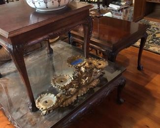 Lane solid wood, claw feet, carved coffee table and matching end tables