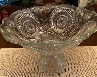 large punch bowl and 12 cups       EAPG Slewed Horse Shoe