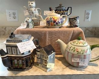 NEW PRICES TAKE 50% OFF Cat Teapot Sold   Cat Creamer Sold  Flower Teapot $8  Blue Teapot with cup $10  Queen Victoria Teapot by Eastenders with sugar bowl Otagirl $12 for set  Pink and Green Teapot $8