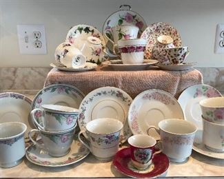 NEW PRICE $15.00 Lot of 14 teacups and saucers was 25.00
