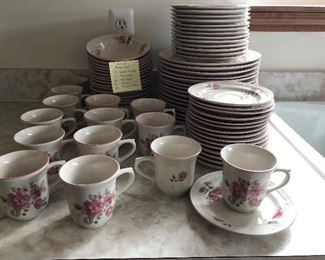 NEW PRICE $30.00 Gibson Roseland  14 teacups, 16 saucers 16 dinner plates 16  bowls  13 salad plates  Was  $50