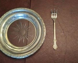 PLL #1 Sterling Rimmed Dish with Fork $35