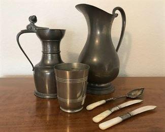 Hanle Debler & Royal Holland Pewter/Sterling Silver Service Ware