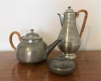 Selangor Pewter Tea and Coffee Set w/ Bamboo Wrapped Handle
