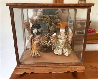 Antique Porcelain Japanese Couple Under Glass