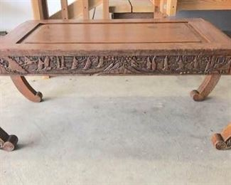Antique Art Deco Chinese Hand Carved Opium Table w/Curved Legs Circa 1920's