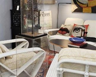 "Paul Frankl famous vintage ""pretzel  Arm Chairs and 3 seater sofa.   $2995."