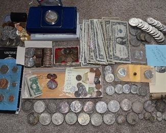Part of coin & bill collection