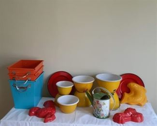 Lot 1: Colorful kitchen enamelware  Assortment of Plastic and metal  Orange, red, yellow!  7 stackable bowls  4 bins (two blue two orange)