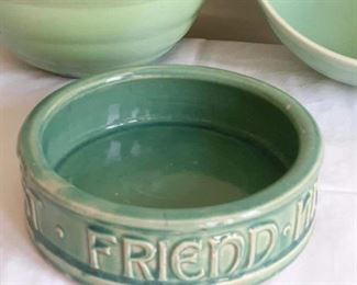Lot 2: Two matching green 'Bauer' bowls 9.5in diameter  McCoy dog bowl