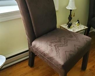 Taffeta side chairs 38Hx21Wx21D    $75 each/250 for four