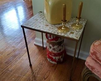 Mosaic top mid-mod occasional tables this one a little taller than the other one $50 each or three for 125