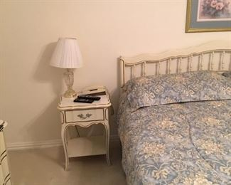 French Provincial nightstand by Dixie wit matching King size headboard and bed