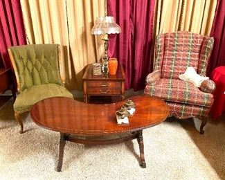 Kidney bean table and wingback chairs