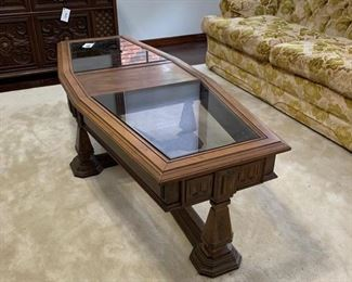 "Groovy 70's Coffee Table with smoked glass inserts in excellent condition. Dimensions 60"" x 24"" x 16"" high $60"