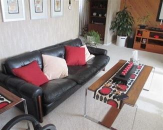 Mid Century Modern Rosewood and Chrome Coffee Table With Matching End Table ~ Maurice Villency Leather MCM Black Sofa with Matching Chair