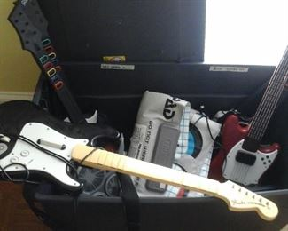 X BOX 360 ROCK BAND,  NINTENDO POWER PAD, Wii GUITARS, FENDER STRATOCASTER GUITAR.