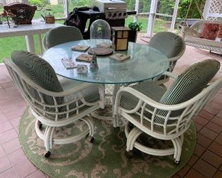 #12 - $240 - Outdoor Glass Table w/ 4 Chairs
