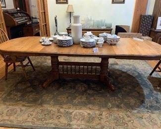 "#15 - $160 - Long Double Pedestal Oak Dining Table w/ 3 Leaves - 102""W x 41""D x 30""H"