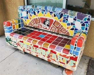 Mosaic Bench: Silent Auction. Leave your highest bid with our cashier.