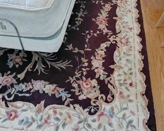 large black floral area rug