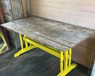 Designer Farm Table from Reclaimed 1870's and 1970's Wood.
